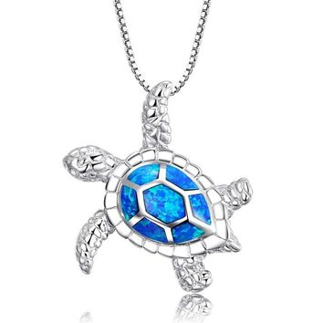 Fashion Style Blue Epoxy Turtles Necklace Cute Animal Tortoise Starfish Wedding Jewelry Filled Pendants Necklaces For Women Gift