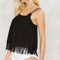 Well Thread Fringe Cami Top - Black