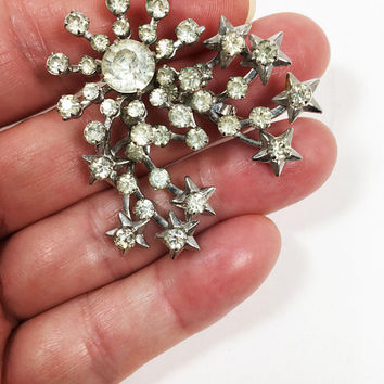Stars Rhinestone Pin Vintage 1940s 1950s Style Celestial Theme Jewelry Clear Rhinestones in Riveted Silver Tone Star Settings