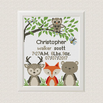 Baby cross stitch pattern pdf birth sampler birth announcement woodland Fox Deer Owl Cross Stitch Gift personalized unique baby boy diy gift