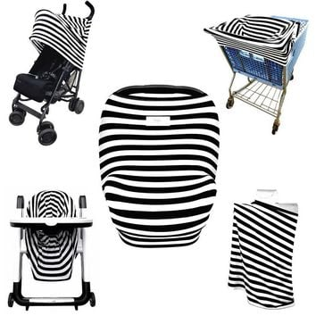 Kolamom Baby Blanket Swaddling Canopy Car Seat Cover Multi-Use Infant Nursing Cover Stretchy Breathable Shopping Cart Canopies