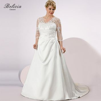 Belicia Couture Women Beading Lace Applique Wedding Dress Lace Up Plus Size Bridal Gowns Three Quarter Length Sleeves Ball Gown
