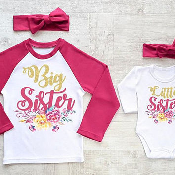 Big Sister Little Sister Glitter Set. Floral Glitter Matching Sister Outfits. Baby Girl Clothes. Floral Sister Set. Cute Sister Shirts.
