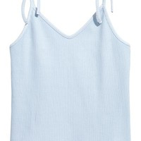Ribbed strappy top - Light blue - Ladies | H&M GB