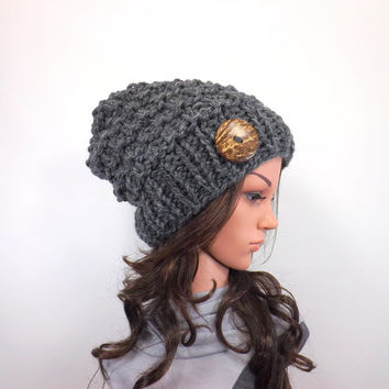 Knit Chunky Slouchy Buttoned Hat Beanie Toque // The Barletta // in Granite