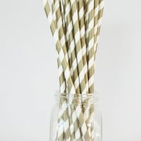 Gold Stripe Straws Metallic Paper Straws Gold Party Supplies New Years Eve Party Bachelorette Party Gold Wedding Oscar Party / Set of 20