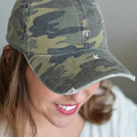 Distressed Camouflage Baseball Cap - Olive