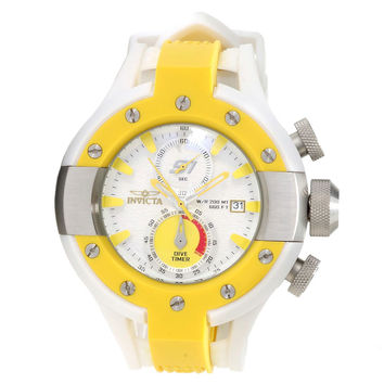 Invicta 13069 Men's S1 Rally Yellow Bezel White Dial Rubber Strap Chronograph Dive Watch