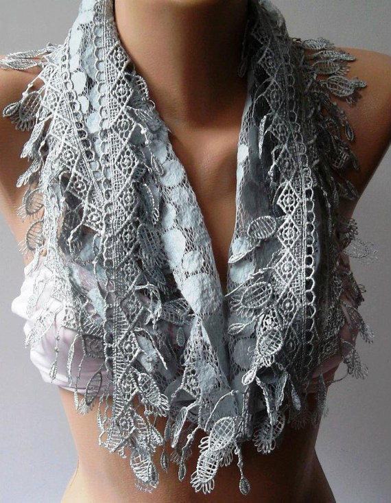 Grey - Elegance  Shawl / Scarf with Lacy Edge