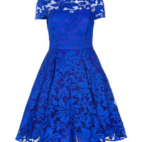 Sheer floral dress - Bright Blue | Dresses | Ted Baker UK