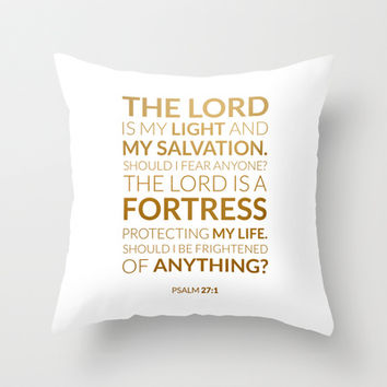 Psalm 27:1 V2 Throw Pillow by cooledition