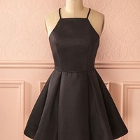 Black Spaghetti Straps Homecoming Dresses,Stain Pleated Short Homecoming Dresses