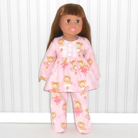 18 inch Doll Pink Flannel Pajamas with Dancing Monkeys Girl Sleepwear American Doll Clothes