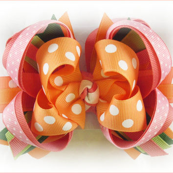 Boutique stacked bow, Boutique bows, Pink and orange bow, Big hair bow, Beach hair bow, Gymboree bow, M2MG CORAL REEF, Hair bows for girls