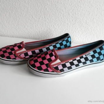 Vans KVD lightweight slip on sneakers, deep pink & soft turquoise upcycled checkerboard shoes, size eu 38 (US Wo's 7.5, UK 5)