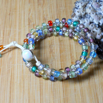 Goddess Bracelet Beaded Multi color Handmade jewelry Meditation Bracelet, Double Wrap Fun bracelet chakra beads, beachy Sanibel, Florida