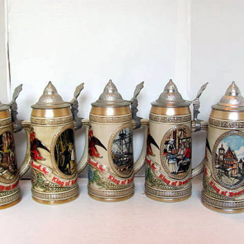 Budweiser Stein Series from 1980's / Brewing History Series Steins with Pewter Lids