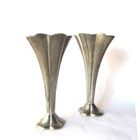 Romantic decor. Vintage flower vases. Small vases. Bud vases. Metal vases. Pewter vases. Petite delicate. Flower shaped vases. Two available