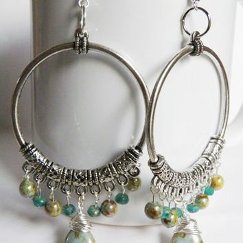 OOAK large silver hoops boho chic gypsy earth tones Picassso Czech Christmas gift under 50