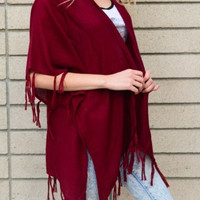 Night's Watch Tassel Kimono - Wine