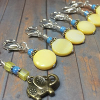 Removable Stitch Markers for Knit or Crochet- Yellow Elephant