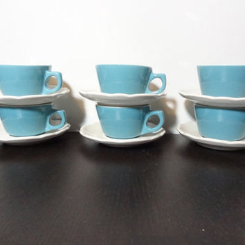Vintage Buffalo China Restaurant-ware Turquoise Blue Diner Coffee/Tea Cups with White Scalloped Saucers - Set of 6 Cups and Saucer Sets