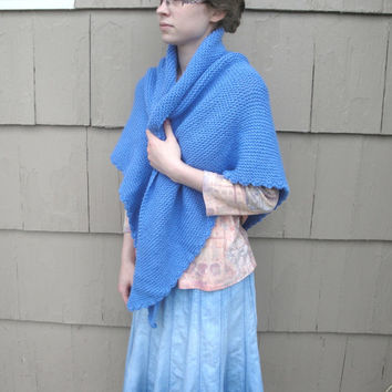Knit Shawl, Blue, Prayer Shawl, Hand Knit Knitted, Large & Cozy, Shawl Wrap, Triangle