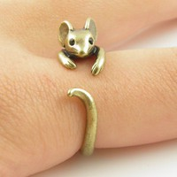 Gold Mouse - Animal Wrap Ring