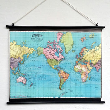 Vintage World Map Giant Poster - World Map Wall Art Decor -  Bohemian Home decor - Old School Chart