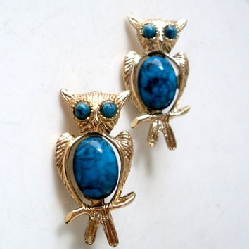 Vintage Owl Brooch Faux Turquoise Cabochon Chest Gold Tone Set of 2