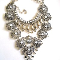 Massive Silver Bib Necklace, Filigree & Dangles, Bohemian, Vintage