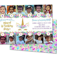Unicorn 1st Birthday Invitations - Girl 1st Birthday Photo Timeline Invitation Keepsake - Magical 1st Birthday Invite - ONE girl - Unicorns