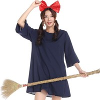 Miyazaki Hayao anime kiki's delivery service cosplay costume Halloween costume for girls women dress  + headwear