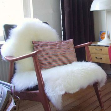 Soft Faux Sheepskin Chair Sofa seat Warm Hairy Carpet Seat Pad Plain Skin Fur Plain Fluffy Rugs Washable Floor Bedroom Mat