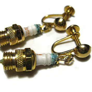 Vintage Champion Spark Plug Earrings Gold Tone Screw Back Mid Century Figural Fun Womens Jewelry