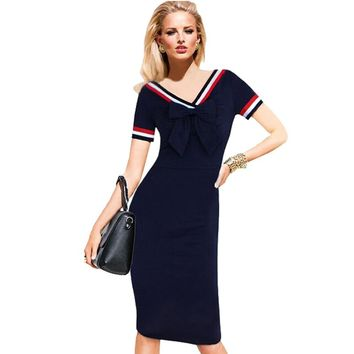 Fashion cute college wind bow V territorial waters student uniform solid color Slim package hip dress