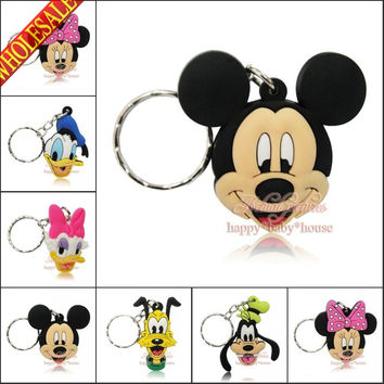Mixed 40PCS Mickey Minnie Key Rings PVC Pendants for Gifts/ Bags Accessories PVC Keychains Necklace Cellphone Pendants Charms