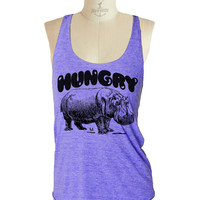 HUNGRY Hippo Tank Top shirt - Tri-Blend Tank workout - 8 color options Available in sizes S, M, L