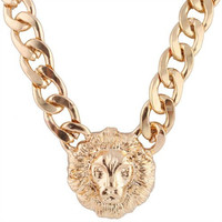J Crew Inspired Gold Metal Lion Head Face Pendant Adjustable Thick Miami Cuban Chain Necklace Charm