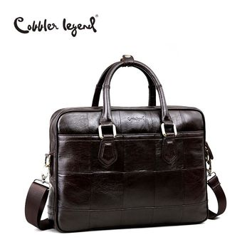 Cobbler Legend Brand Designer Men's Real Leather Briefcase Bag