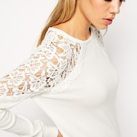 ASOS Sweater Dress With Lace Insert