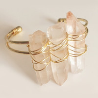 Clear Neutral Agate Stone Wire Wrapped Cuff Bracelet