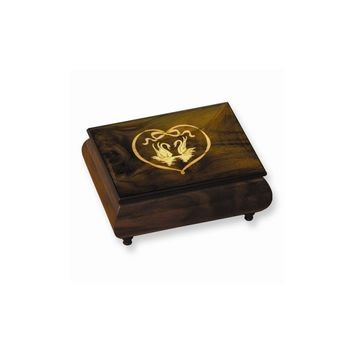Brown and Red Doves & Heart Inlay Music Box