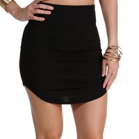 Up Your Game Black Mini Skirt