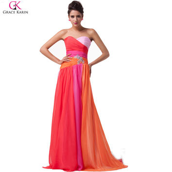 Grace Karin Rainbow Aqua Blue Coral Red Ombre Plus Size Long Bridesmaid Dresses 2017 Vestido De Festa Chiffon Wedding Prom Dress