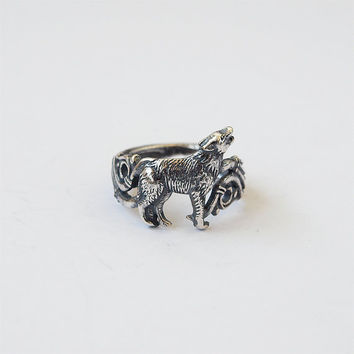 Howling wolf ring Silver plated Brass Jewelry Size 6,5