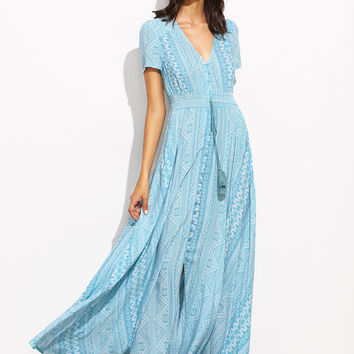 Blue Geometric Print V Neck Drawstring Dress