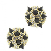 Black and Gold Spike Stud Earrings with Rhinestones Statement Earrings