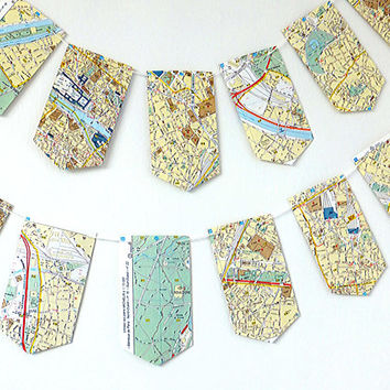 Vintage Paris Map Garland,  Paris Bunting, Map Banner, Eco-friendly decor, up-cycled pennants