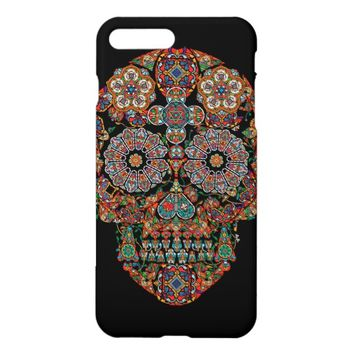 Flower Sugar Skull Glossy iPhone 7 Plus Case